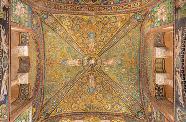 Wall Mural - RAVENNA, ITALY - JANUARY 28, 2020: The ceiling symbolic mosaic with the Lamb of God in the center from the presbytery of church Basilica di San Vitale from the 6. cent.