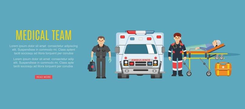 Medical team ambulance, doctors paramedics emergency service with patient disease vector illustration. Medics people doctors team and patient near ambulance car, healthcare emergence medicine.
