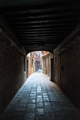 Garden Poster Narrow alley Narrow covered alley with cobblestone in Venice, Italy