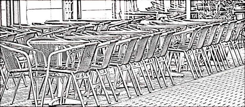 Black and white drawing of chairs in the outdoor cafe