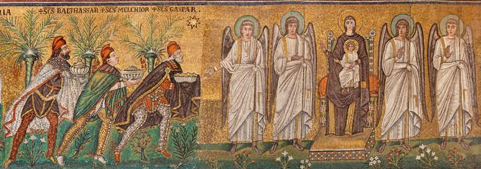 RAVENNA, ITALY - JANUARY 28, 2020: The mosaic of Tree Magi scene from church Basilica of Sant Apolinare Nuovo from the 6. cent.