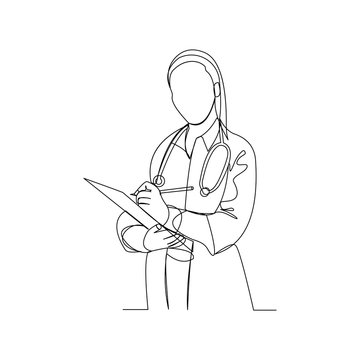 Continuous line drawing of woman doctor holding patient paper document. Vector illustration.