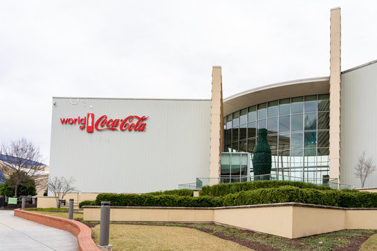 Atlanta, Georgia, USA - January 17, 2020: Exterior view of World of Coca-Cola in Atlanta, Georgia, USA. The World of Coca-Cola is a museum showcasing the history of The Coca-Cola Company.