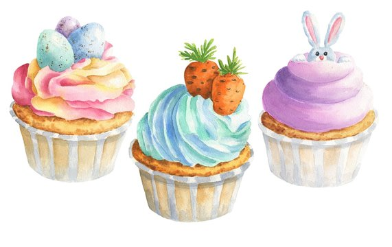 Watercolor Easter cupcakes isolated on white background. Hand drawn festive food illustration.