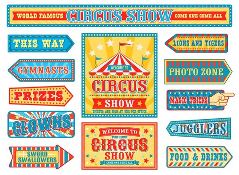 Vintage circus labels and carnival signboards set, arrow pointers and entertainment show banners with chapiteau tent. Clowns, gymnasts badges or stickers collection in retro style, vector illustration