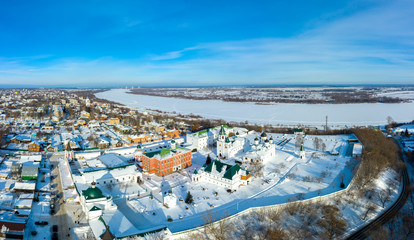 Transfiguration Monastery and the river Oka in Murom, Russia Vladimir region. Panoramic aerial view
