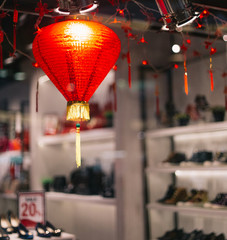 Red Chinese lantern and Chinese new year decoration