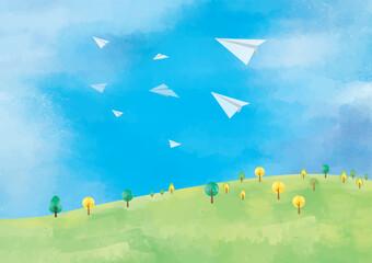 Photo sur Plexiglas Bleu 風景:水彩 水彩画 背景 背景素材 風景 にじみ 丘 草原 野原 春 夏 秋 冬 原っぱ 高原 森