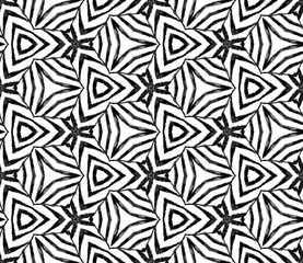 Black and white handdrawn seamless pattern. Hand d