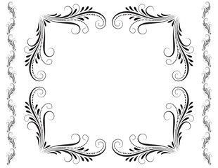 Wall Mural - Decorative vintage frame with floral ornament with border in retro style isolated on white