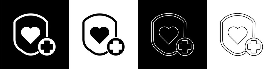Set Shield and heart rate icon isolated on black and white background. Health protection concept. Health care. Vector Illustration