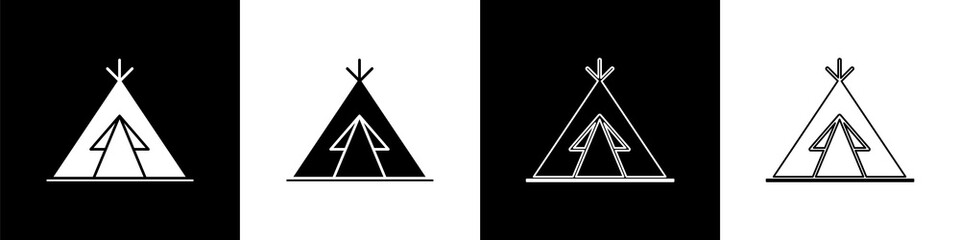 Set Traditional indian teepee or wigwam icon isolated on black and white background. Indian tent. Vector Illustration