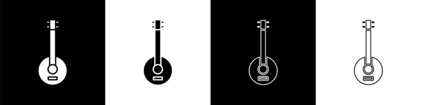 Set Banjo icon isolated on black and white background. Musical instrument. Vector Illustration