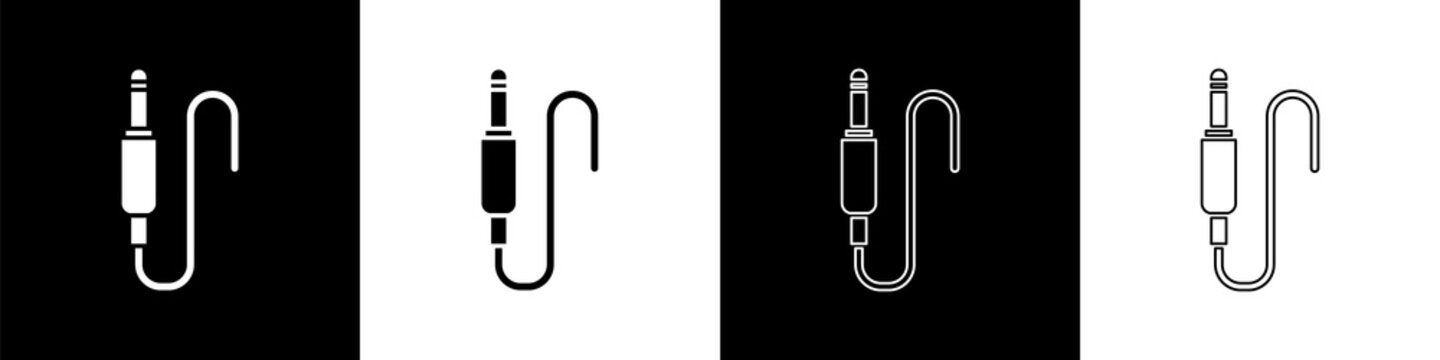 Set Audio jack icon isolated on black and white background. Audio cable for connection sound equipment. Plug wire. Musical instrument. Vector Illustration