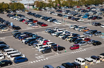 Parking lot and many cars at Takamatsu city, Kagawa, Shikoku, Japan