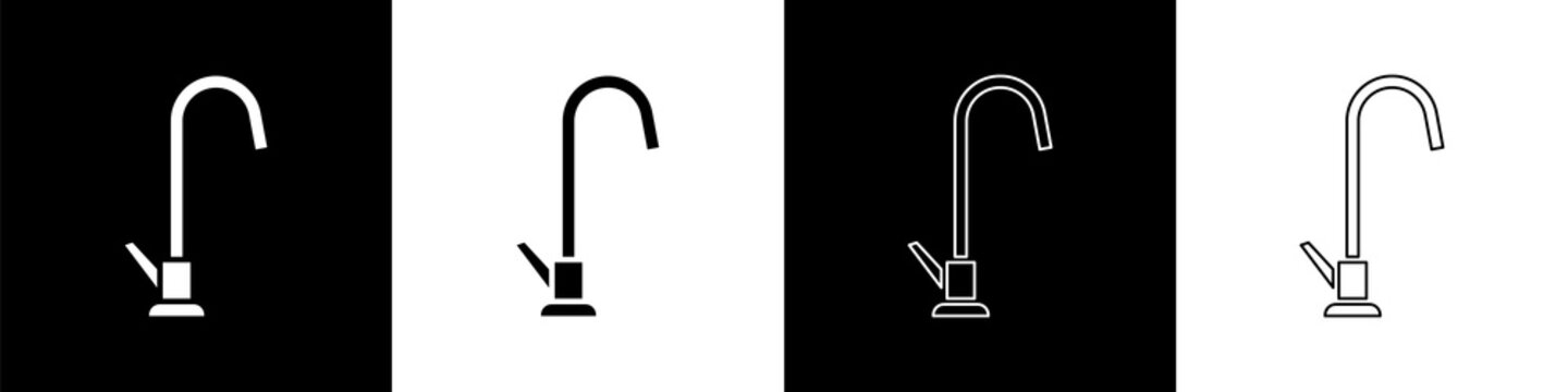 Set Water tap icon isolated on black and white background. Vector Illustration