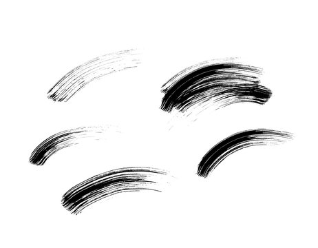 Mascara eyelashes brush stroke set isolated on white background. Vector black hand drawn lash scribble texture swatch for fashion cosmetic makeup design.