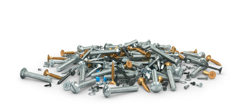 Mount. Many different screws and nuts isolated on white. 3d illustration