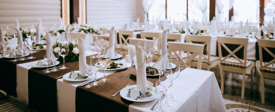 elegant table setting on wedding party in restaurant. Catering service