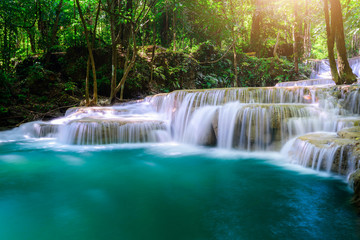 Waterfall in Tropical forest at Erawan waterfall National Park, Thailand Wall mural