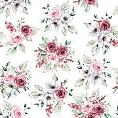 Seamless floral texture, pattern with watercolor flowers roses. Repeating background, fabric, wallpaper, print. Perfectly for wrapping paper, backdrop or border.