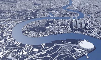 London city map 3D Rendering. Aerial satellite view. Wall mural