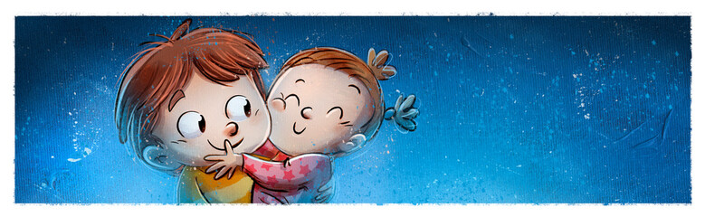 Brother and little sister hugging each other affectionately with texture background