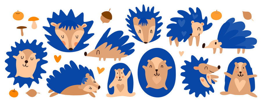Vector cheerful set of little blue hedgehogs. Cute cartoon hedgehog based on the movie Sonic X. Forest animal sleeps, runs, lies. Penning on children's textiles, toys.