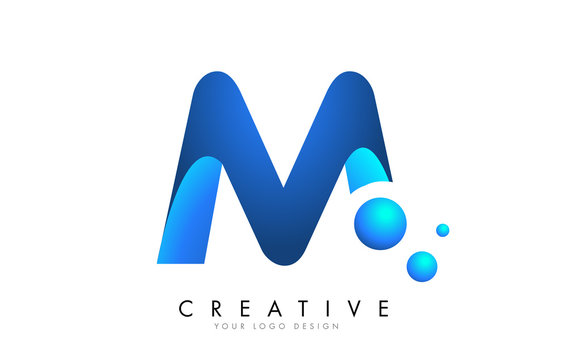 M  Letter Logo Design with 3D and Ribbon Effect and Dots.