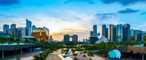 Hangzhou Financial District Plaza and building landscape skyline..