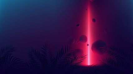 Futuristic allusion red neon ray, light reflex on spheres, vector background with empty space with tropical plants