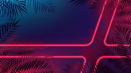 Neon laser rays among tropical leaves, futuristic cyberpunk background, modern lighting technology, vector illustration