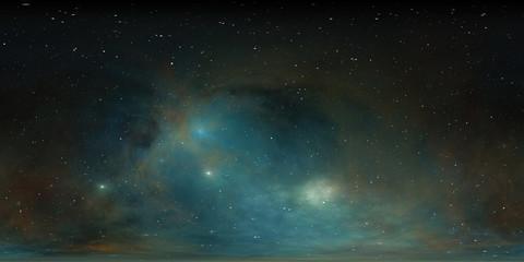 360 degree stellar system and glowing nebula. Panorama, environment 360 HDRI map. Equirectangular projection, spherical panorama