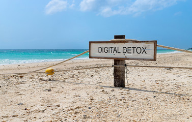 Old wooden sign with text digital detox on tropical beach Wall mural
