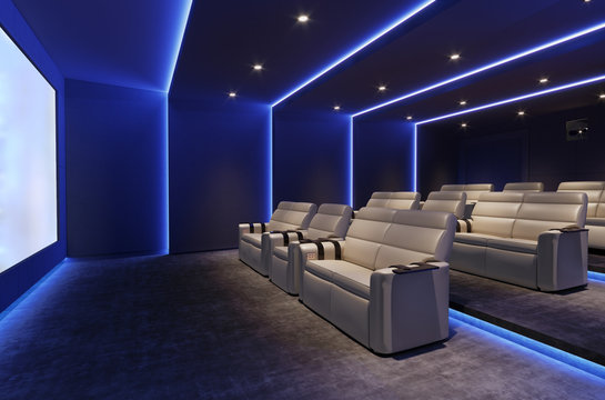 3d home cinema room with blue light and beige leather armchairs with screen