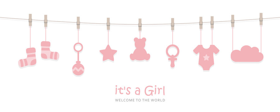 its a girl welcome greeting card for childbirth with hanging baby utensils vector illustration EPS10