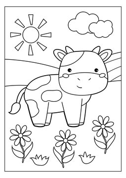 Educational game for children. Cute kawaii cow with flowers. Farm animals. Coloring page.