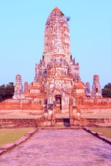 Wall Mural - Ayutthaya temples in Thailand. Retro style filtered color.