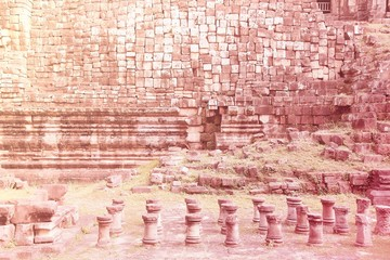 Wall Mural - Angkor Thom, Cambodia. Retro style filtered color.
