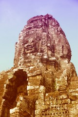 Wall Mural - Bayon temple. Retro style filtered color.