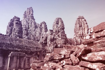 Wall Mural - Cambodia landmarks. Retro style filtered color.