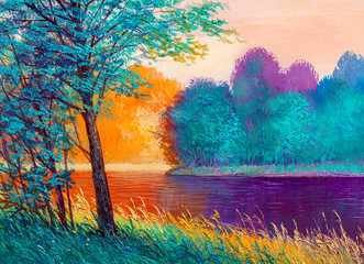 Oil painting landscape , beautiful river.