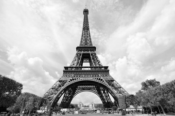 Wall Mural - Paris, France - Eiffel Tower. Black and white vintage style photo.