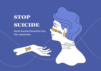 World Suicide Prevention Day vector illustration. Somebody lend a helping hand to broken lady. Isolated girl with self-harm scars on her neck. Art about mental health women, depression concept