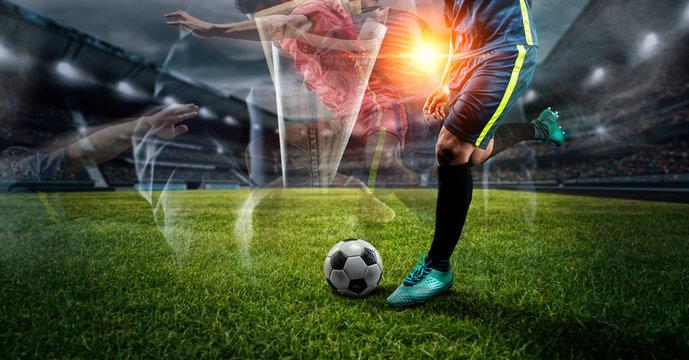 double exposure Soccer player kicks the ball on the soccer field.Professional soccer player in action.