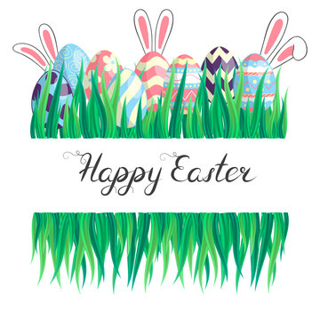Happy Easter colorful border with eggs composition, grass, bunny ears and lettering. Cute watercolor floral holiday greeting card, invitation template.