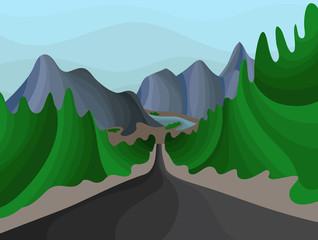 Aluminium Prints Green illustration of a mountain landscape