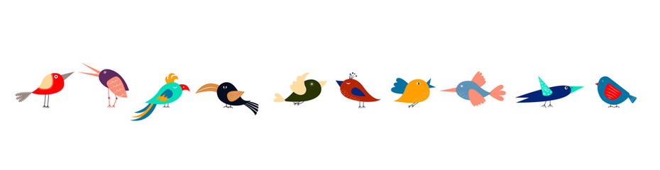 Cute cartoon different multicolored birds in row on white background. Narrow horizontal banner for web, packaging, textile. Fotobehang