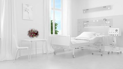 Helles weißes Krankenzimmer im Krankenhaus Fototapete