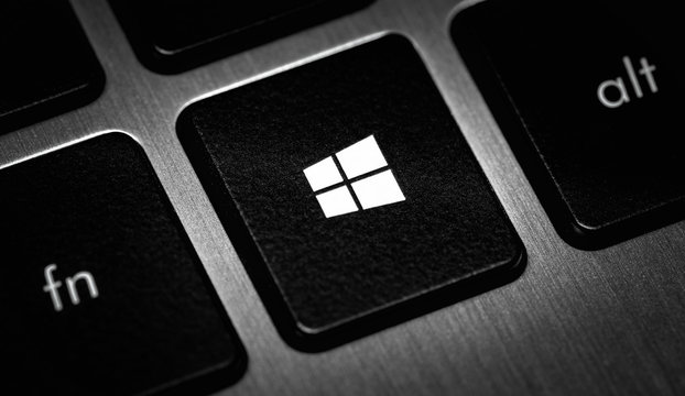 Windows icon, symbol on the button, keyboard laptop closeup. Windows is a operating systems developed, marketed, and sold by Microsoft. Moscow, Russia - November 15, 2019